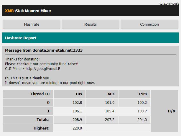 xmr დასტის ინტერფეისი ვებ